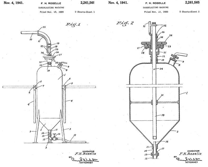 1941 first patent FH Roselle Abrasive Blasting Machine